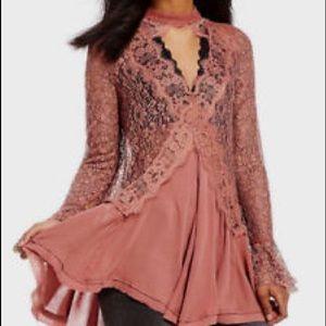 Free People Dusty Mauve Lace Mini Dress/Tunic, XS